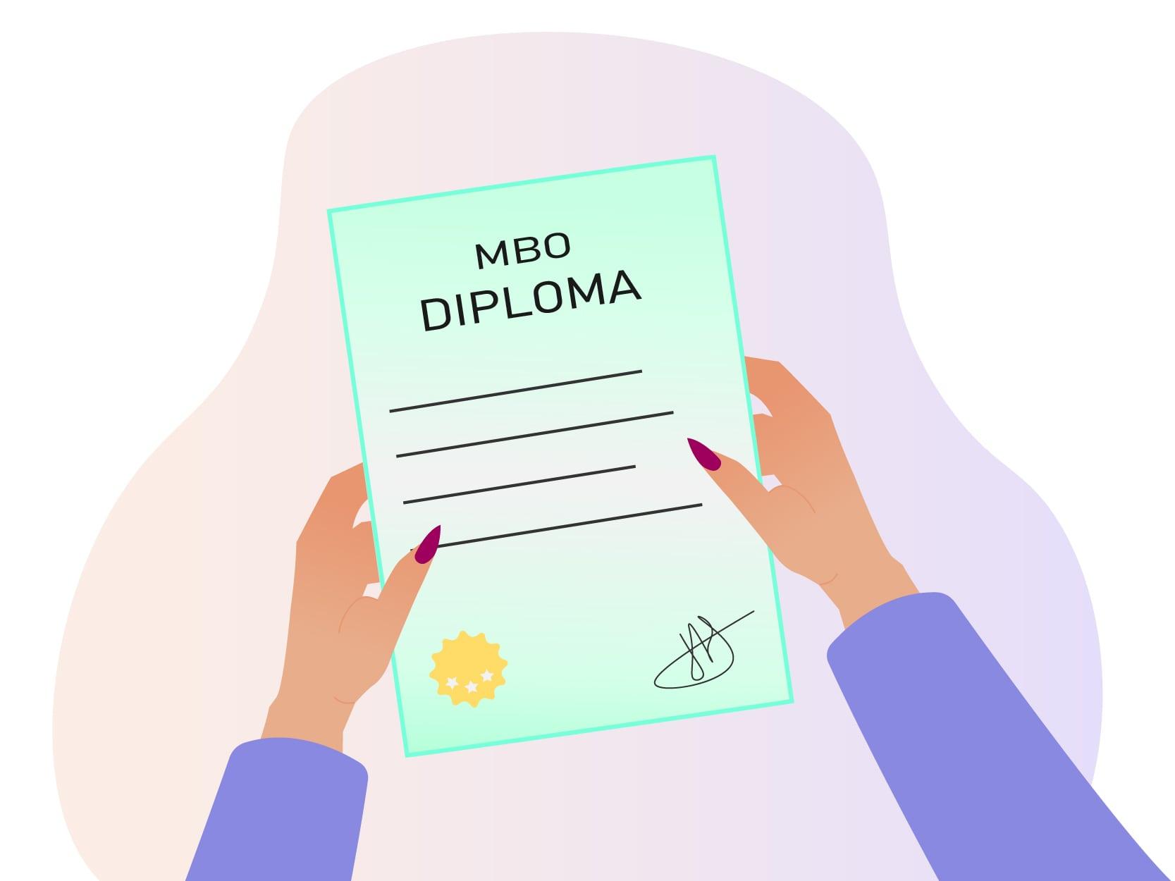 Oppas of gastouder met een paarse trui en een mbo diploma in haar hand